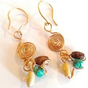 Jewelry - Handmade Artisan Copper Spiral Swirl French Hook